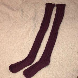 NWOT Free People Thigh High Burgundy Socks